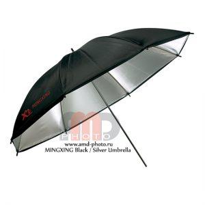 Фотозонт серебристый отражающий MINGXING Black / Silver Umbrella